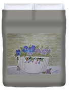 Hall China Crocus Bowl With Violets Duvet Cover