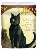 Halloween Greetings With Black Cat And Carved Pumpkins Duvet Cover