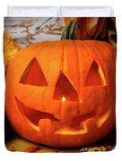 Halloween Pumpkin Smiling Duvet Cover