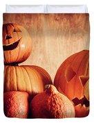 Halloween Pumpkins, Carved Jack-o-lantern. Duvet Cover