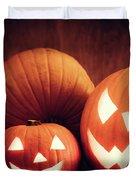 Halloween Pumpkins Glowing, Jack-o-lantern Duvet Cover