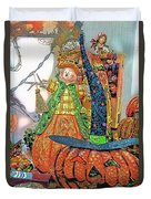 Halloween Scarecrow And Pumpkin Pa 02 Vertical Duvet Cover