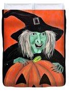 Halloween Witch And Pumpkin Art Duvet Cover