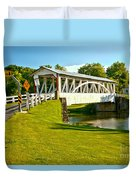 Halls Mill Covered Bridge Landscape Duvet Cover