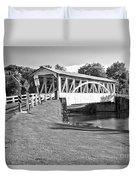 Halls Mill Covered Bridge Landscape Black And White Duvet Cover