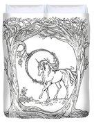 Haloed Unicorn In The Woods Duvet Cover