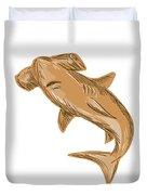 Hammerhead Shark Drawing Duvet Cover