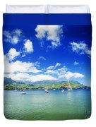 Hanalei Bay With Pier Duvet Cover