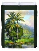 Hanalei River Moonrise Duvet Cover