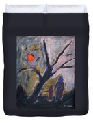 Hand In Hand Walk Under The Moon Duvet Cover