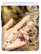 Hand Of A Woman Catching Water Stream Duvet Cover