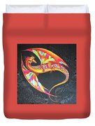 Hand Painted Silk Scarf Dragon On Black Duvet Cover