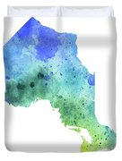 Hand Painted Watercolor Map Of Ontario, Canada In Blue And Green  Duvet Cover