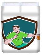 Handball Player Throwing Ball Crest Cartoon Duvet Cover