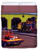Handcar And Old Train Duvet Cover