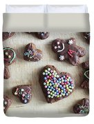 Handmade Decorated Gingerbread Heart And People Figures Duvet Cover