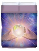 Hands With A Glowing Earth Duvet Cover