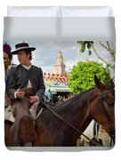 Handsome Man And Beautiful Woman Drinking On Horseback With 2015 Duvet Cover
