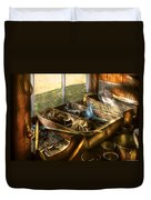 Handyman - Junk On A Bench Duvet Cover by Mike Savad