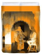 Hanging Out Travel Exotic Arches Orange Abstract Square India Rajasthan 1c Duvet Cover