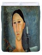 Hanka Zborowska With A Candlestick Duvet Cover by Amedeo Modigliani