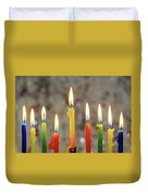 Hanukkah Menorah With Burning Candles Duvet Cover