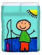 Happi Arte 2 - Boy Fish Art Duvet Cover by Sharon Cummings