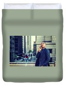 Happy African American Businessman Working In New York Duvet Cover
