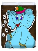 Happy Blue Elephant Gingerbread Duvet Cover