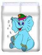 Happy Blue Elephant Duvet Cover