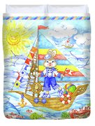 Happy Bunny On The Boat Duvet Cover
