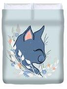 Happy Cat In The Springtime Garden Duvet Cover
