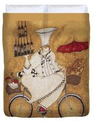 Happy Chef On The Bike Duvet Cover