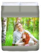 Happy Couple In A Park Duvet Cover