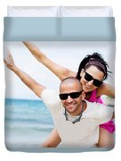 Happy Couple On Beach Duvet Cover