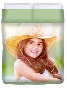 Happy Cute Girl Portrait Duvet Cover