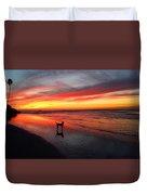 Happy Dog At Sunset Duvet Cover