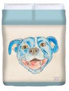 Happy Dog Blue Duvet Cover