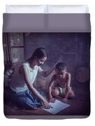 Happy Family Sisters And Brothers Read Books In The Evening At H Duvet Cover