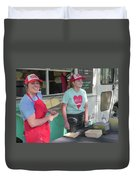 Happy Food Truck Workers Duvet Cover
