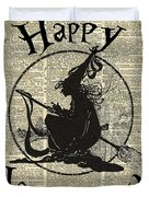 Happy Halloween Witch With Broom Dictionary Artwork Duvet Cover