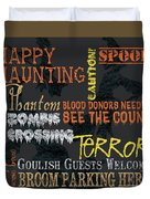 Happy Haunting Typography Duvet Cover
