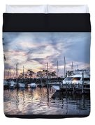 Happy Hour Sunset At Bluewater Bay Marina, Florida Duvet Cover