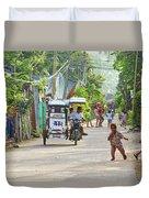 Happy Philippine Street Scene Duvet Cover