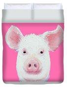 Happy Pig Portrait Duvet Cover