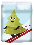 Happy Pine Tree On Ski Duvet Cover