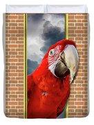 Happy Red Parrot Duvet Cover