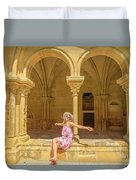 Happy Tourist Visits Coimbra Duvet Cover