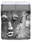 Happy Tree In Black And White Duvet Cover