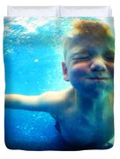 Happy Under Water Pool Boy Square Duvet Cover